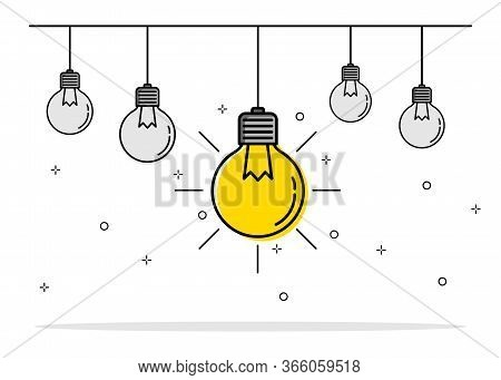 Concept Creative Idea And Innovation. Light Bulb Lighting Different Outstanding Group. Vector Illust
