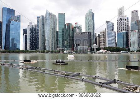 Singapore, Republic Of Singapore - December 16, 2019: View To The Urban Skyline Of Downtown Singapor