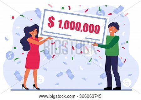 Lucky Couple Winning Grant And Showing Cheque For One Million Dollars. Happy Lottery Winners Celebra