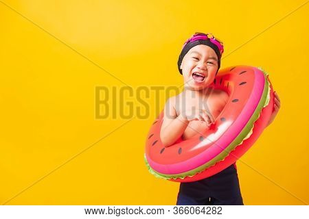 Summer Vacation Concept, Portrait Asian Happy Cute Little Child Boy Wear Goggles And Swimsuit Hold W