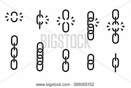 Set Of Chains. Black Broken, Torn Chain. Vector Illustration