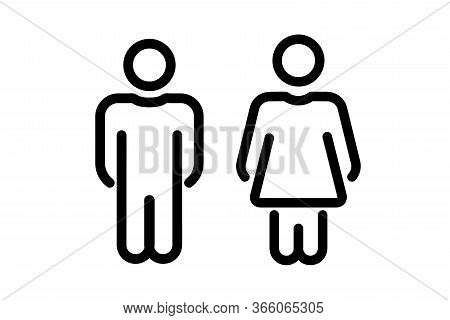 Male And Female User Avatar. Man And Woman Symbol. Gentleman And Lady Toilet Icon Set. Gender Vector