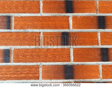 Red Brick Wall With Textured Brick. Contrast Stitches. Durable Masonry. Brick Background