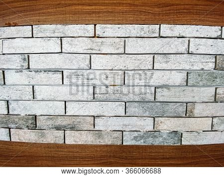 Gray Brick Wall With Texture Brick. Contrast Stitches. Durable Masonry. Brick Background. Copy Place