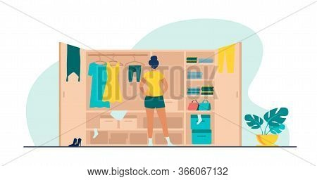Woman Choosing Dress From Wardrobe Flat Vector Illustration. Young Lady Standing Near Opened Closet.