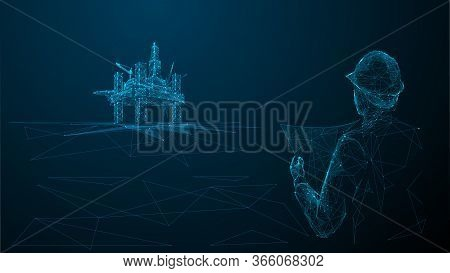 Architect Or Engineer In Hard Hat Holding A Blueprint Looking At Gas Drilling. 3d Abstract Vector Il
