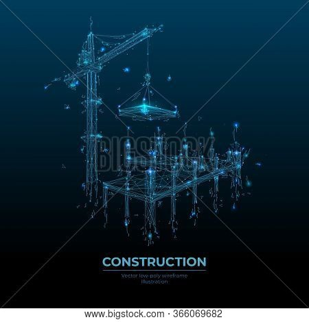 Abstract Building Process With Construction Equipment In Dark Blue Background. Tower Crane Holding S