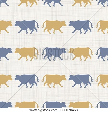 Seamless French Farmhouse Cow Silhouette Pattern. Farmhouse Linen Shabby Chic Style. Hand Drawn Rust