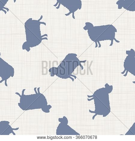 Seamless French Farmhouse Sheep Silhouette Pattern. Farmhouse Linen Shabby Chic Style. Hand Drawn Ru