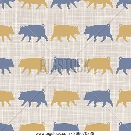 Seamless French Farmhouse Pig Silhouette Pattern. Farmhouse Linen Shabby Chic Style. Hand Drawn Rust