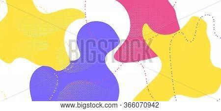 Colorful Memphis Page. Trendy Geometric Composition. Futuristic Fluid Backdrop. Multicolor Funky Tem