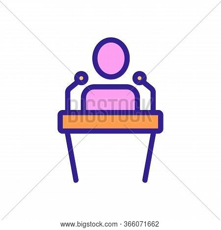 Talking Man Behind Podium With Microphone Icon Vector. Talking Man Behind Podium With Microphone Sig