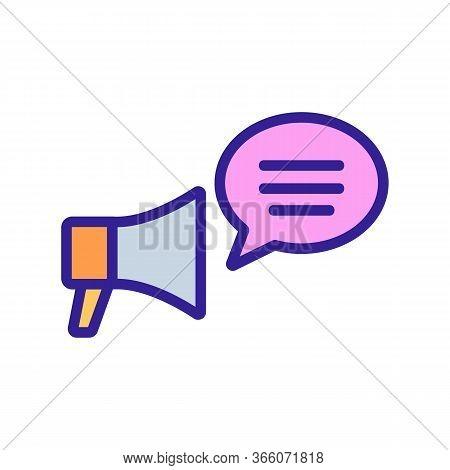 Speaking Through Loudspeaker Icon Vector. Speaking Through Loudspeaker Sign. Color Symbol Illustrati