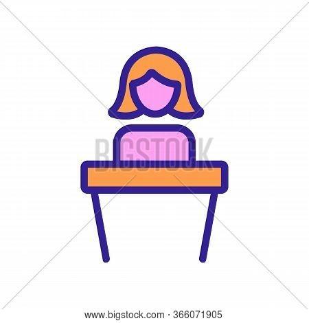 Talking Woman Behind Podium Icon Vector. Talking Woman Behind Podium Sign. Color Symbol Illustration