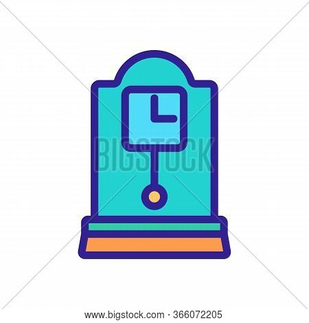 Portable Square Clock With Pendulum Icon Vector. Portable Square Clock With Pendulum Sign. Color Sym
