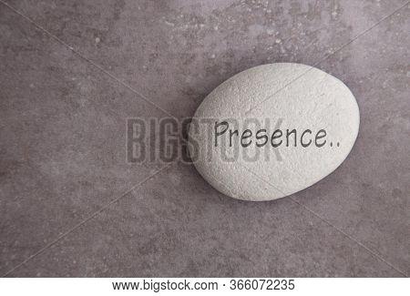 Yoga Zen Stone With The Word Presence