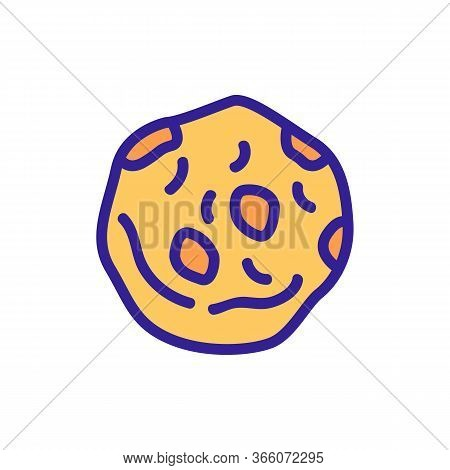 One Oatmeal Nutritious Cookie Icon Vector. One Oatmeal Nutritious Cookie Sign. Color Symbol Illustra