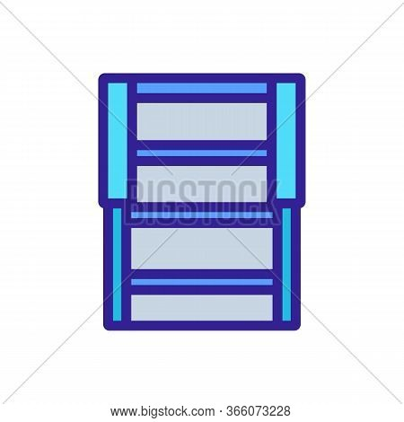 Folding Wooden Staircase Icon Vector. Folding Wooden Staircase Sign. Color Symbol Illustration