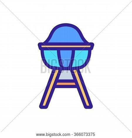 Feeding Chair With Leg Lock Icon Vector. Feeding Chair With Leg Lock Sign. Color Symbol Illustration