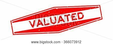 Grunge Red Valuated Word Hexagon Rubber Seal Stamp On White Background