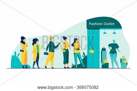 Queue Of Customers Standing For Sale At Boutique Window. People Waiting For Outlet Opening At Shop E