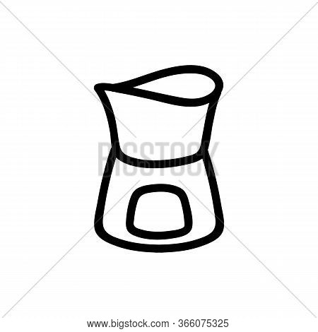 Ceramic Fondue Stand Icon Vector. Ceramic Fondue Stand Sign. Isolated Contour Symbol Illustration