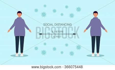 Social distancing. social distancing vector illustration, Social distancing, keep distance in public society people to protect from covid-19. Keep distance sign. Coronavirus. Social Distancing and Self Quarantine