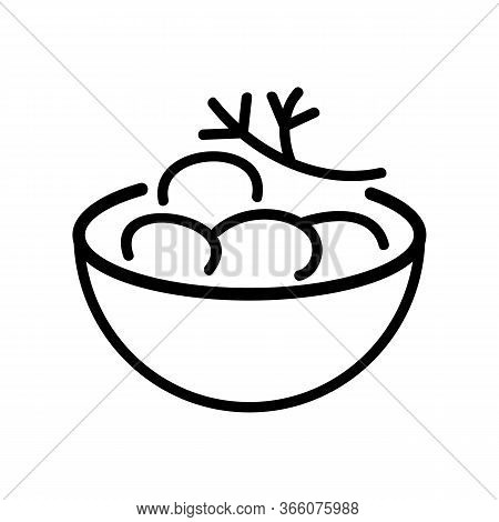 Bowl Of Potatoes With Dill Icon Vector. Bowl Of Potatoes With Dill Sign. Isolated Contour Symbol Ill