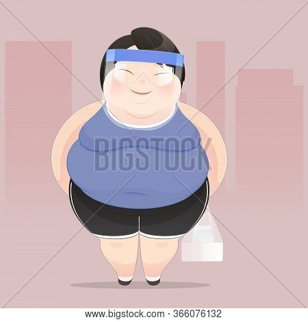 A Fat Man Wearing A Face Shield Buy Food Outside. Illustration Of A Fat People Figure, Concept With