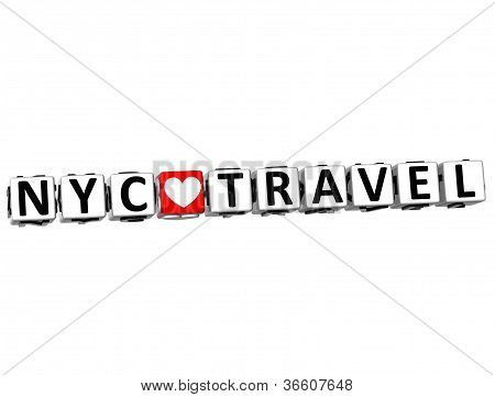 3D Nyc Love Travel Button Click Here Block Text