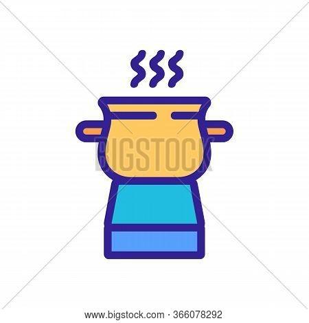 Boiling Pot Fondue Icon Vector. Boiling Pot Fondue Sign. Color Symbol Illustration