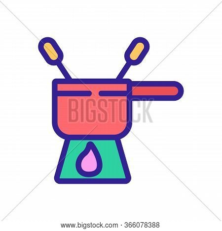 Fondue Bowler With Skewers Icon Vector. Fondue Bowler With Skewers Sign. Color Symbol Illustration