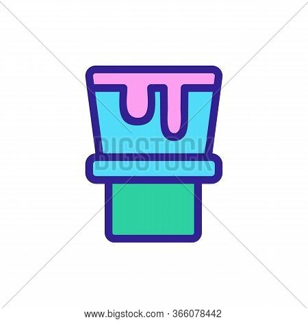 Two Tier Fondue With Flowing Cheese Icon Vector. Two Tier Fondue With Flowing Cheese Sign. Color Sym