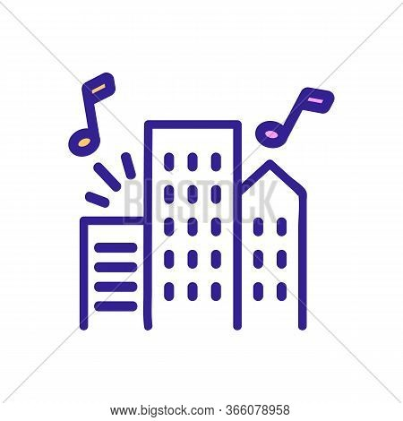 Music Sounding From Apartment Buildings Icon Vector. Music Sounding From Apartment Buildings Sign. C