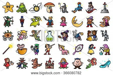 Cartoon Illustration Of Colored Cute 40 Fairy Tail Icons Set. Set Of Fantasy Related Vector Line Ico