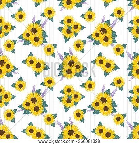 Sunflowers Field Background Seamless Pattern. Summer Flower Concept.