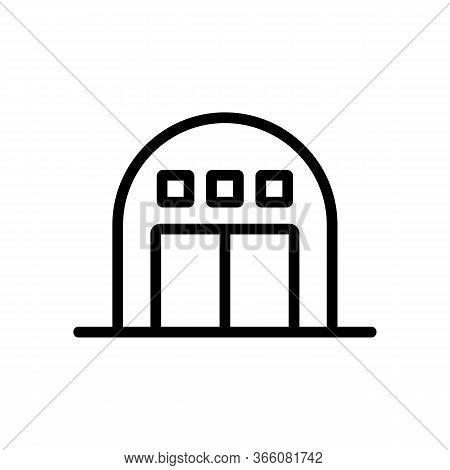 Round Garage With Alarm Icon Vector. Round Garage With Alarm Sign. Isolated Contour Symbol Illustrat