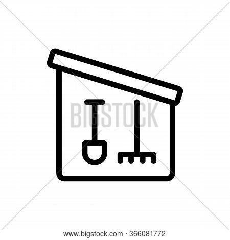 Sloping Farm Appliance Shed Icon Vector. Sloping Farm Appliance Shed Sign. Isolated Contour Symbol I