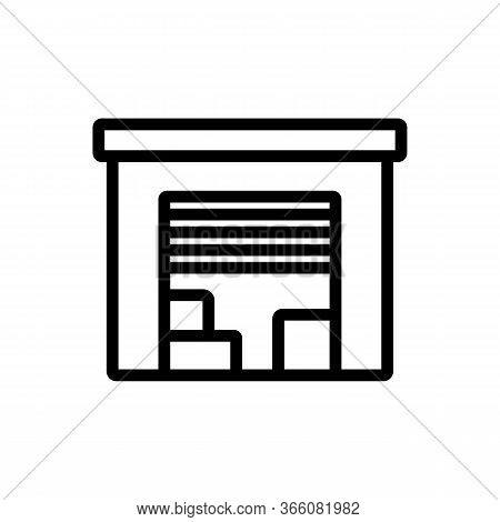 Garage With Automatic Falling Door Icon Vector. Garage With Automatic Falling Door Sign. Isolated Co