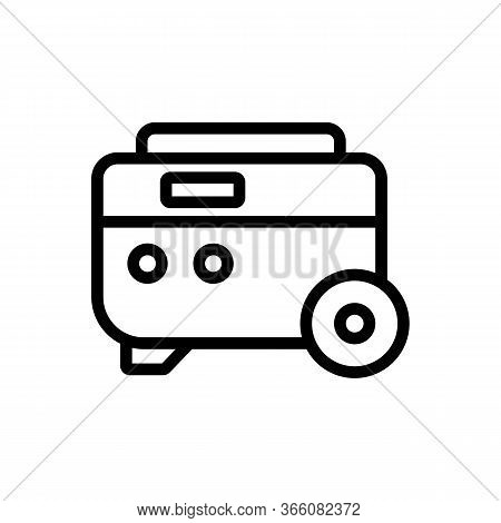 Portable Electric Generator On Wheels Icon Vector. Portable Electric Generator On Wheels Sign. Isola