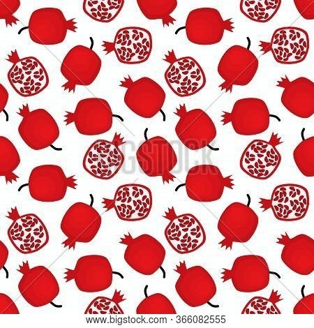 Pomegranate Fruit Seamless. Fresh Tropical Exotic Fruit.