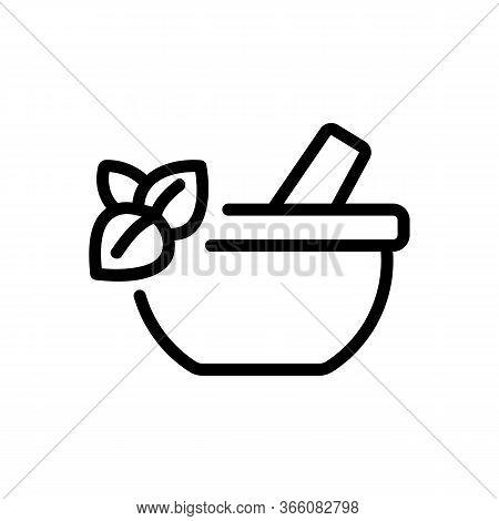 Oregano Mortar Icon Vector. Oregano Mortar Sign. Isolated Contour Symbol Illustration