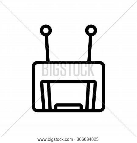Terrestrial Television Receiver Icon Vector. Terrestrial Television Receiver Sign. Isolated Contour
