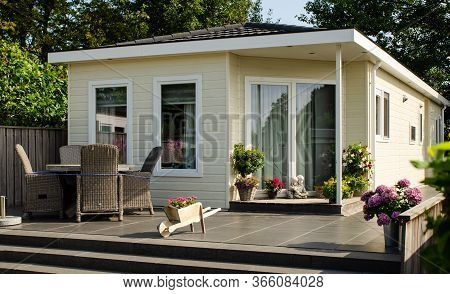 Netherlands,zeeland Region.august 2019. A Nice Campsite Equipped With Bungalows.the Entrance To The