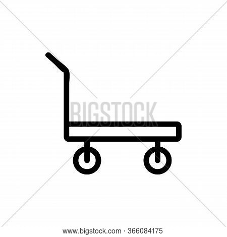 Standard Platform Wheeled Trolley For Transportation Icon Vector. Standard Platform Wheeled Trolley