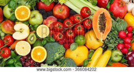 Fruits And Vegetables Collection Food Background Banner Apples Oranges Tomatoes Fresh Fruit Vegetabl