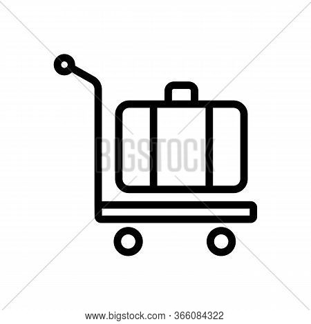 Manual Wheeled Trolley With Suitcase Icon Vector. Manual Wheeled Trolley With Suitcase Sign. Isolate