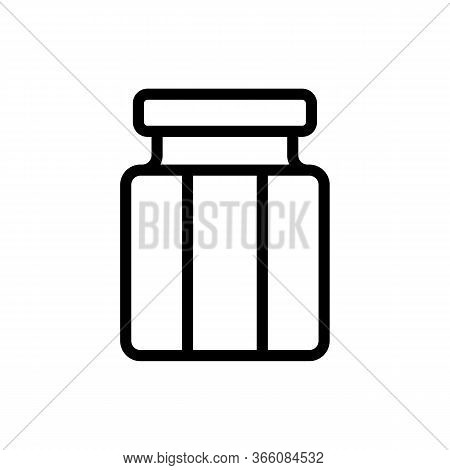 Glass Jar Of With Lid Icon Vector. Glass Jar Of With Lid Sign. Isolated Contour Symbol Illustration