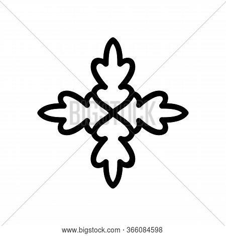 Green Cilantro Leaf Icon Vector. Green Cilantro Leaf Sign. Isolated Contour Symbol Illustration