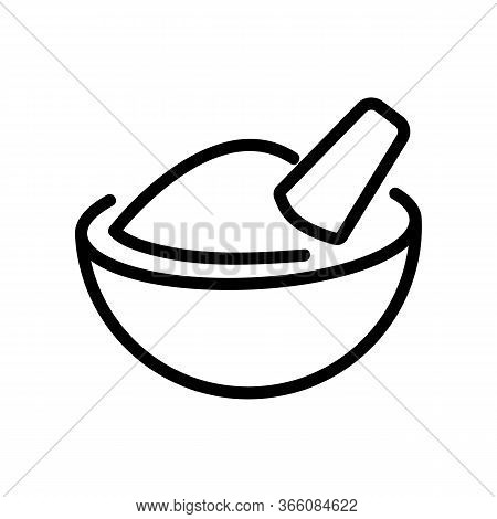 Mortar With Coriander Icon Vector. Mortar With Coriander Sign. Isolated Contour Symbol Illustration